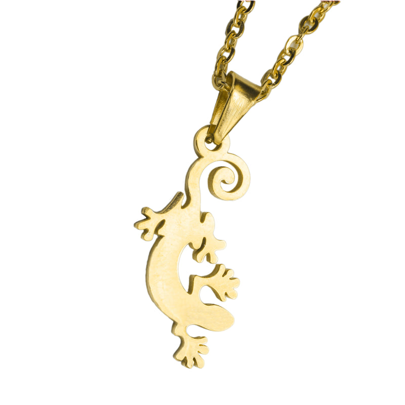 Classic Gecko Lizard Design Solid Gold Pendant By Jewelry Lane