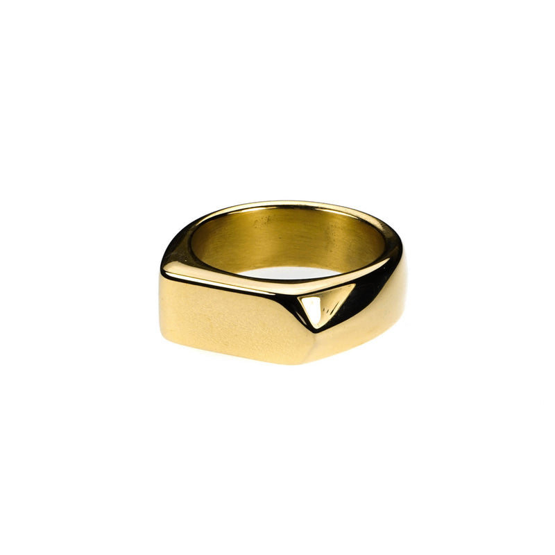 Elegant Beautiful Long Signet Solid Gold Ring By Jewelry Lane