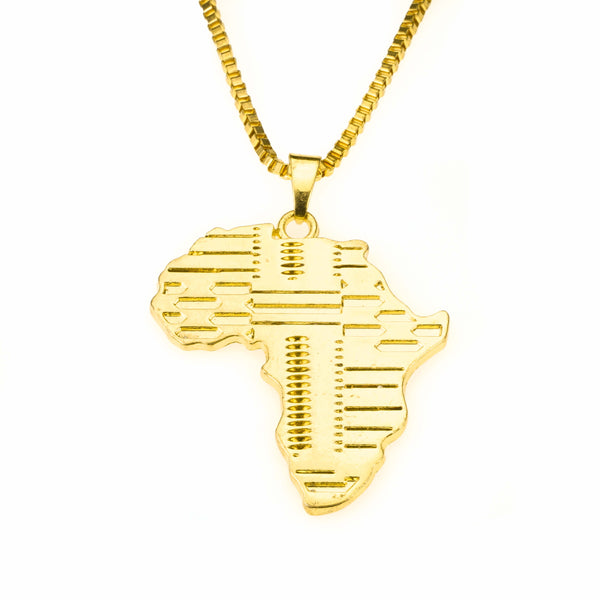 Beautiful Classic Grooved Africa Map Solid Gold Pendant By Jewelry Lane