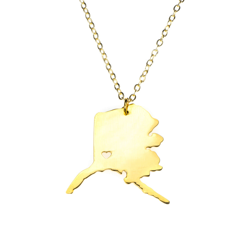 Beautiful Modern Love Alaska Map Design Solid Gold Necklace By Jewelry Lane