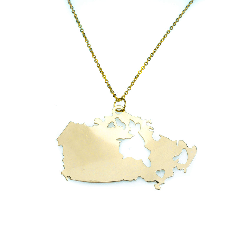 Beautiful Modern Canada Map Love Solid Gold Pendant By Jewelry Lane