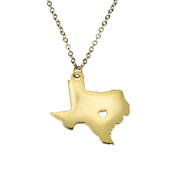 Beautifully Crafted State Texas Map Love Solid Gold Pendant By Jewelry Lane