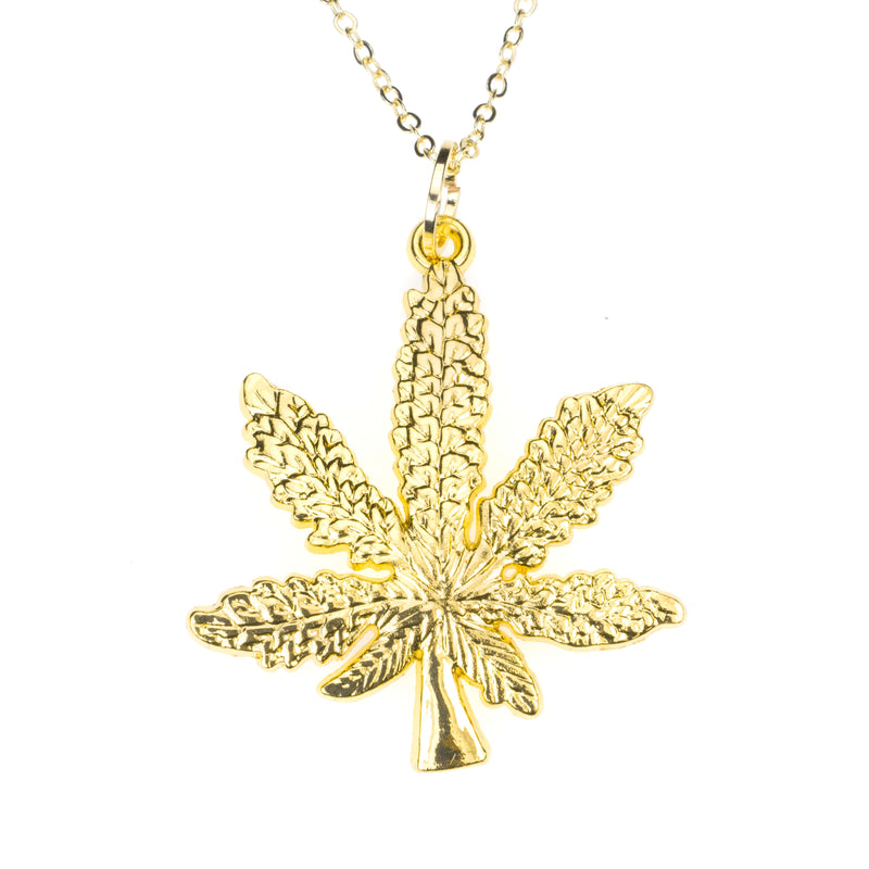 Beautiful Unique Marijuana Leaf Design Solid Gold Pendant By Jewelry Lane