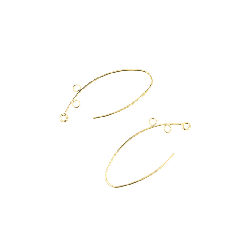 Beautiful Simple Marquise 'V' Shaped Designer Solid Gold Earrings By Jewelry Lane