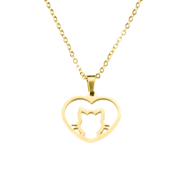 Beautiful Charming Cat Love Heart Solid Gold Pendant By Jewelry Lane