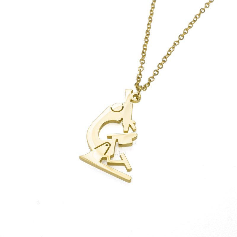 Elegant Unique Microscope Design Solid Gold Pendant By Jewelry Lane