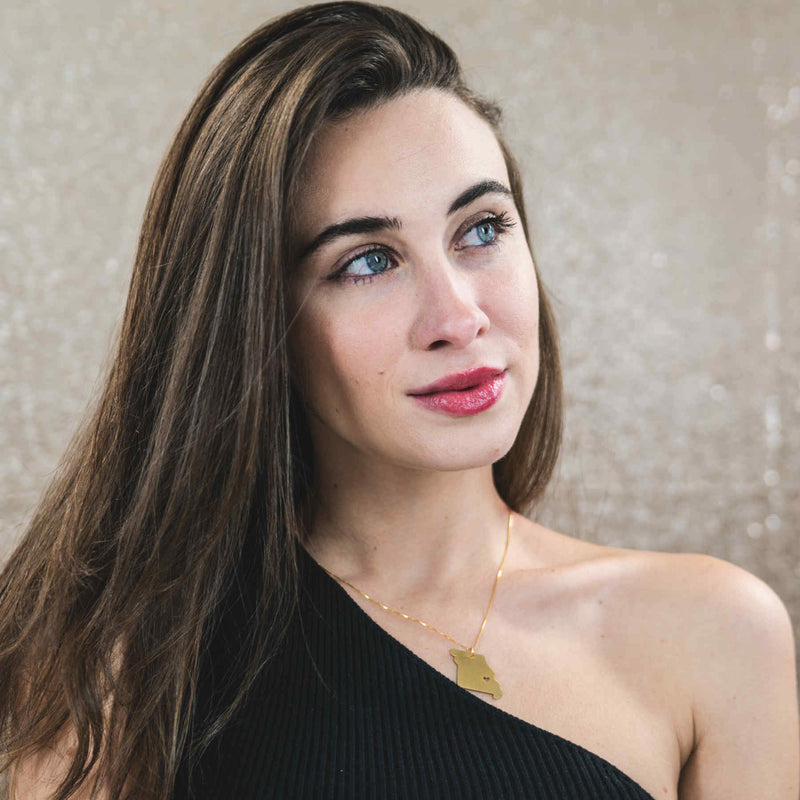 Canadian Italian Model Wearing Elegant Unique Missouri State Design Solid Gold Pendant By Jewelry Lane