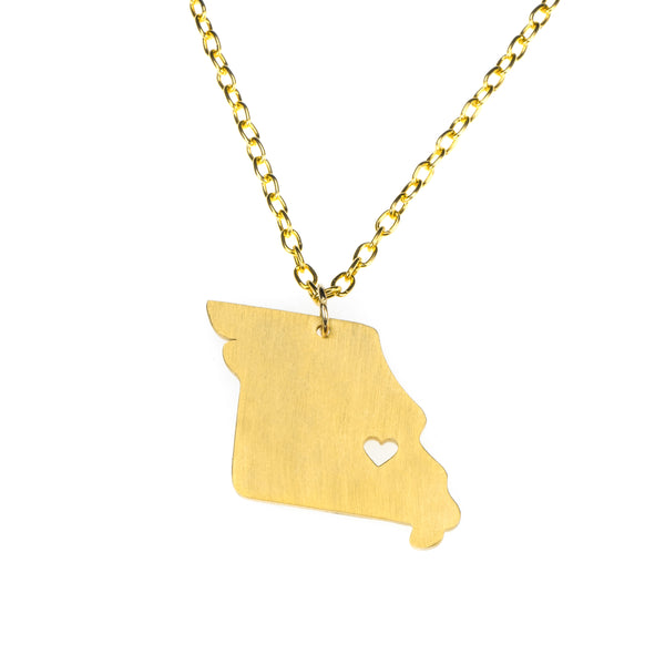 Elegant Unique Missouri State Design Solid Gold Pendant By Jewelry Lane
