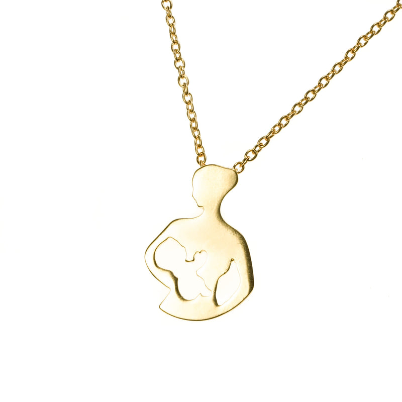 Exquisite Unique Mom Child Love Solid Gold Pendant By Jewelry Lane