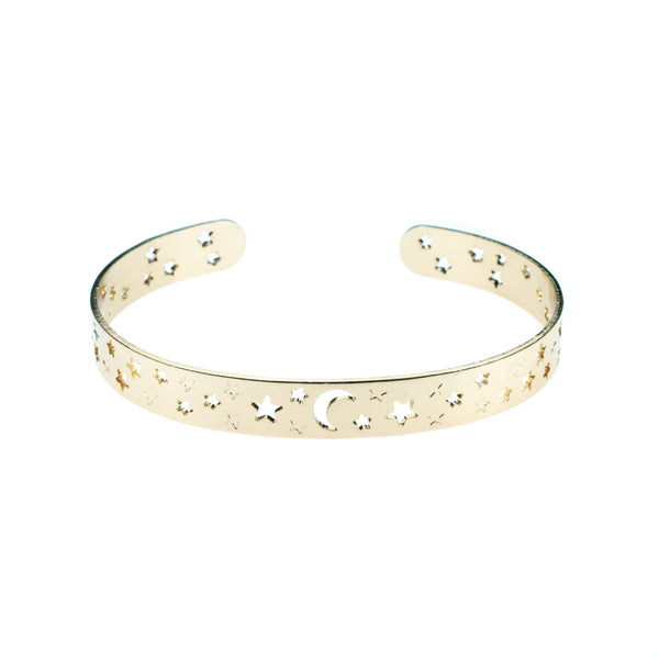 Beautiful Gorgeous Intricately Cut Moon Star Solid Gold Bangle By Jewelry Lane