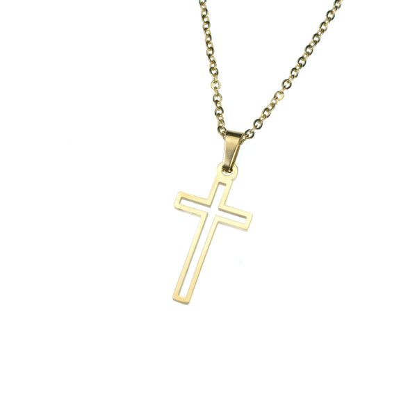 Elegant Religious Open Cross Solid Gold Pendant By Jewelry Lane