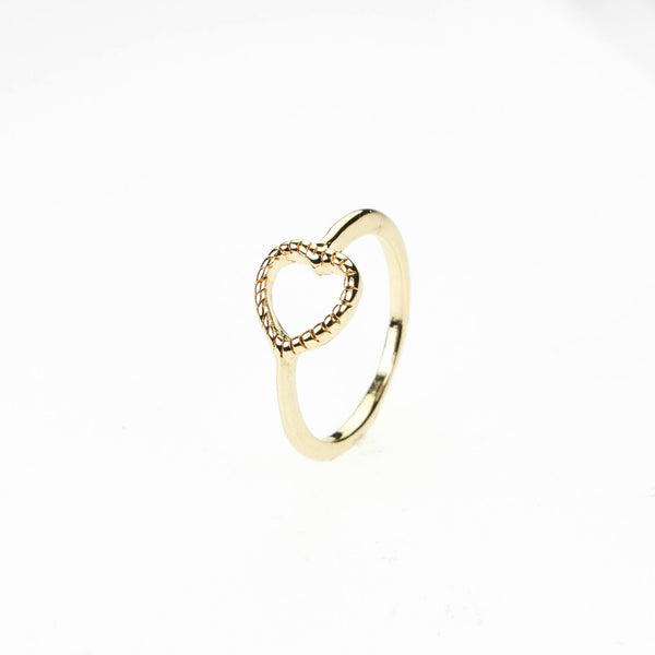 Beautiful Classic Open Heart Stacker Solid Gold Ring By Jewelry Lane