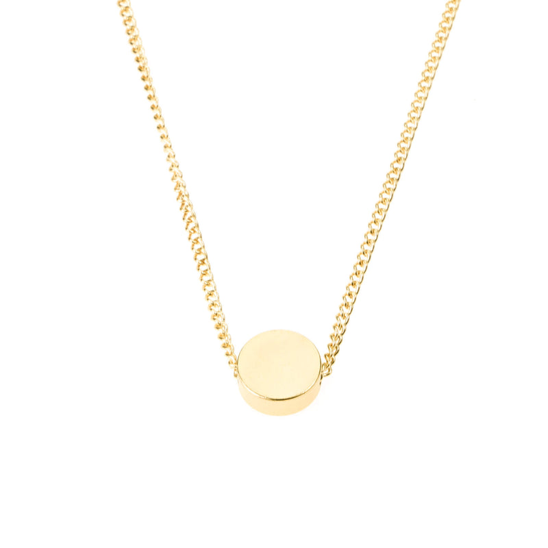 Plain Simple Round Pill Design Solid Gold Necklace By Jewelry Lane