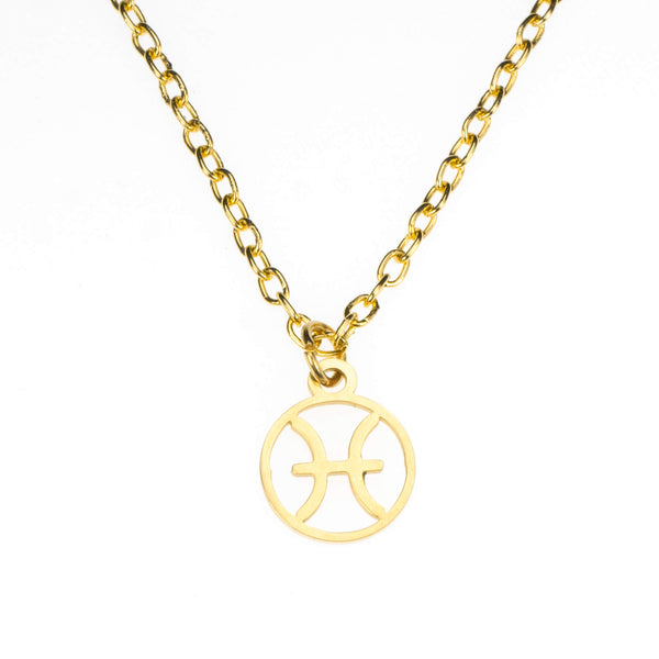Charming Zodiac Pisces Minimalist Solid Gold Pendant By Jewelry Lane