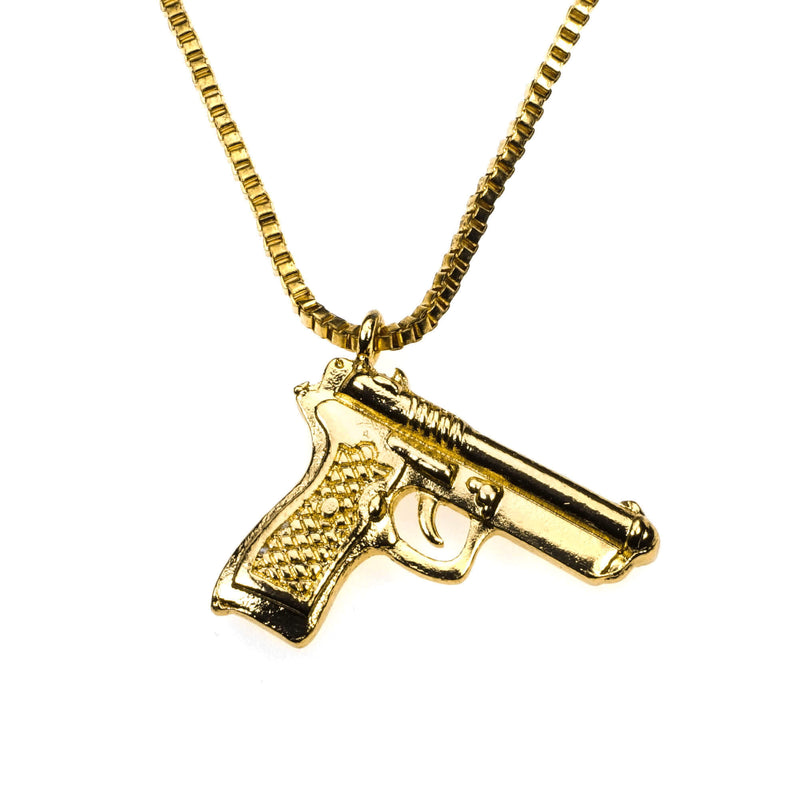 Unique Modern Weapon Pistol Design Solid Gold Pendant By Jewelry Lane