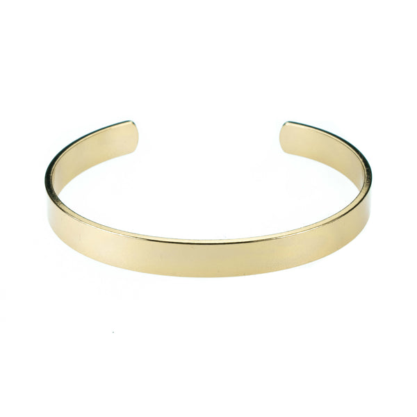 Smart And Chic Open Plain Cuff Solid Gold Bangle By Jewelry Lane