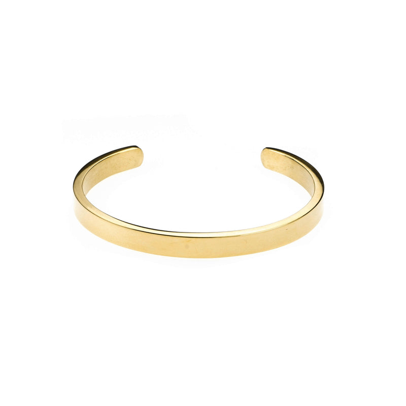 Elegant Simple Plain Cuff Solid Gold Armband Bangle By Jewelry Lane