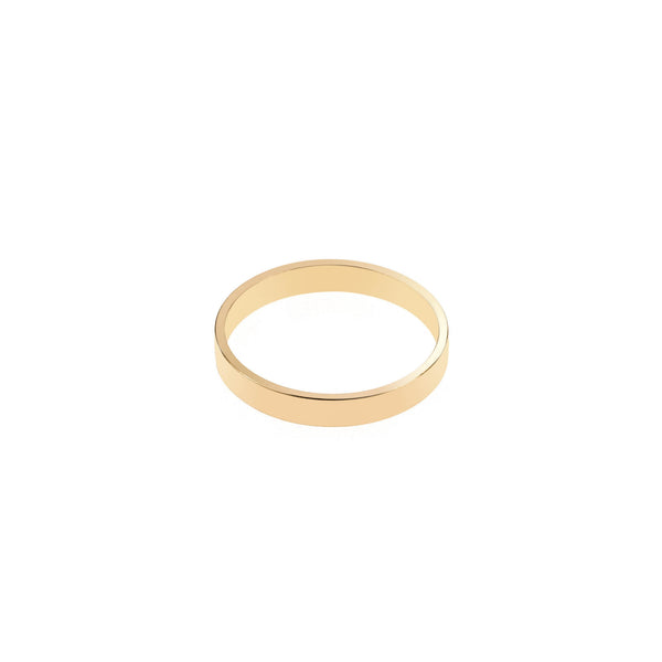 Elegant Plain Simple Evergreen Flat Solid Gold Band Ring By Jewelry Lane