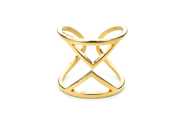 Beautiful Designer Hourglass Solid Gold Ring By Jewelry Lane