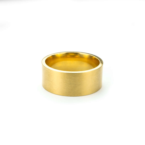 Beautiful Modern Timeless Flat Solid Gold Ring By Jewelry Lane