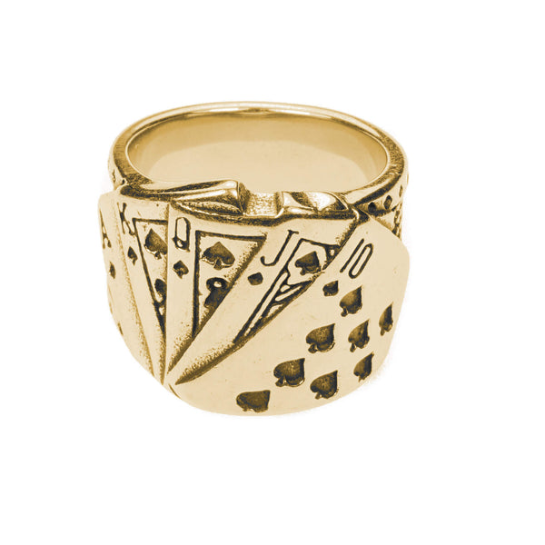 Modern Unique Playing Card Design Solid Gold Ring By Jewelry Lane