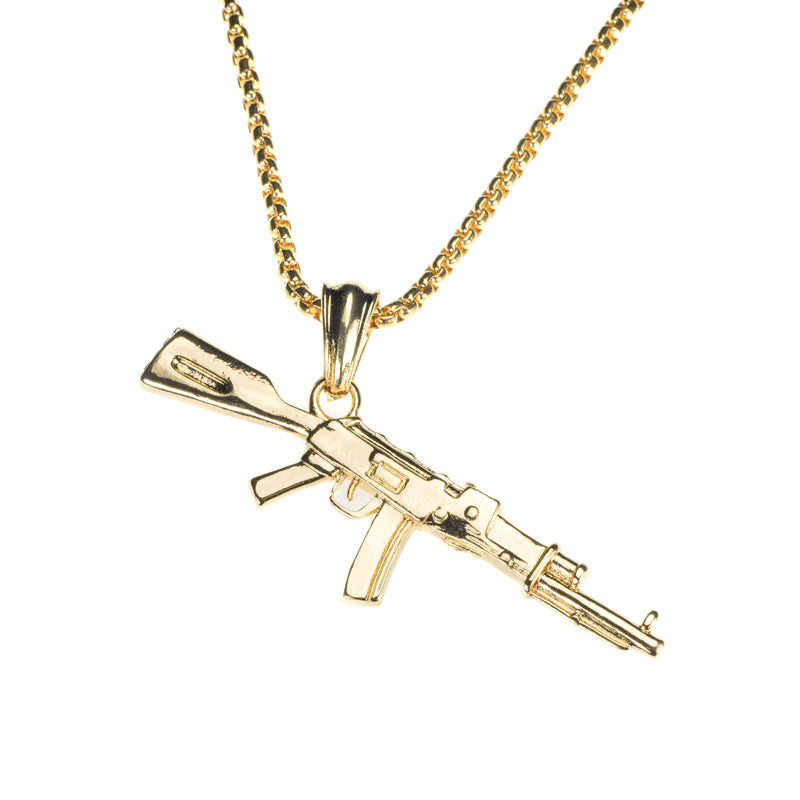 Beautiful Vintage Weapon Rifle Design Solid Gold Pendant By Jewelry Lane