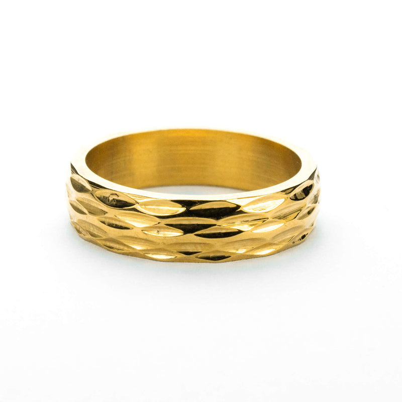 Elegant Geometrical Concave Textured Solid Gold Ring By Jewelry Lane