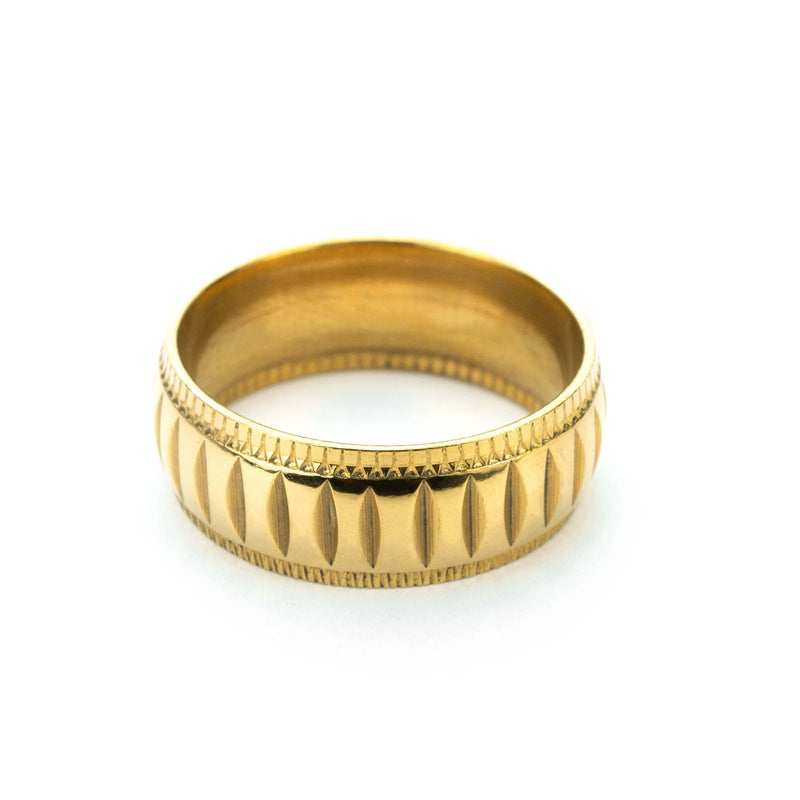 Simple Elegance Classic Machine Cut Solid Gold Ring By Jewelry Lane