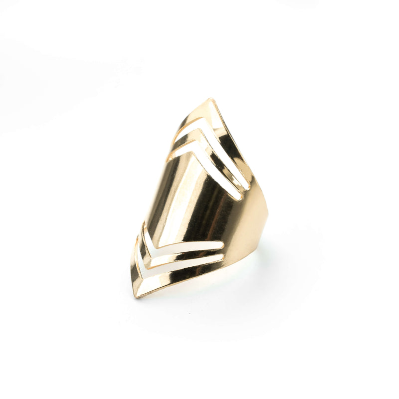 Elegant Amazonian Elongated Solid Gold Ring By Jewelry Lane