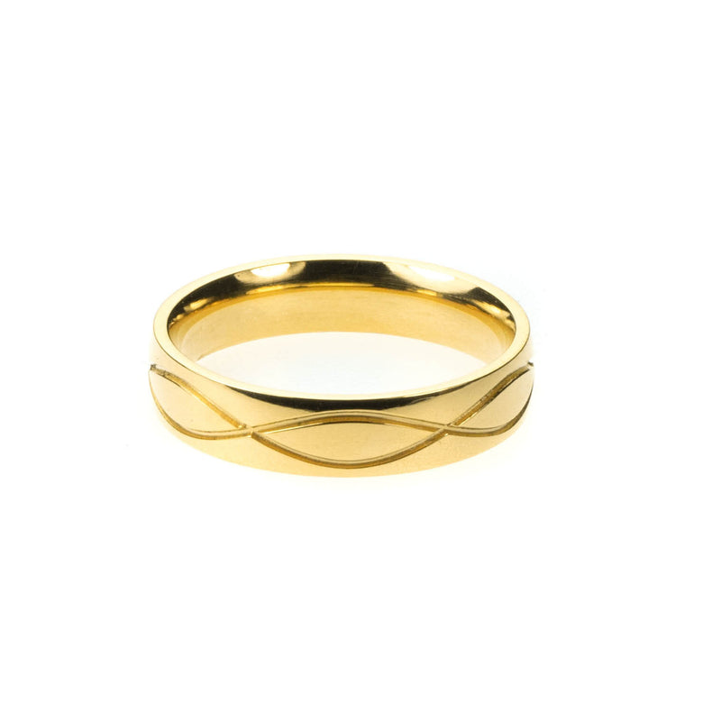 Wave Cut Solid Gold Band By Jewelry Lane
