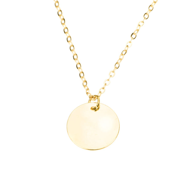 Simple Plain Round Blank Tag Design Solid Gold Pendant By Jewelry Lane