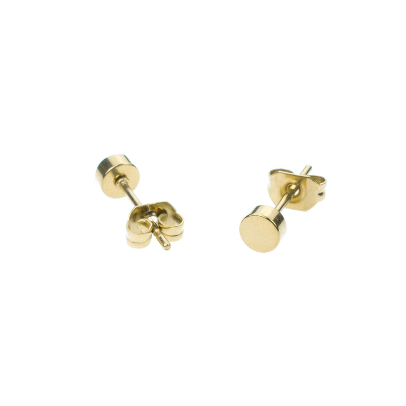 Simple Evergreen Small Round Solid Gold Stud Earrings By Jewelry Lane