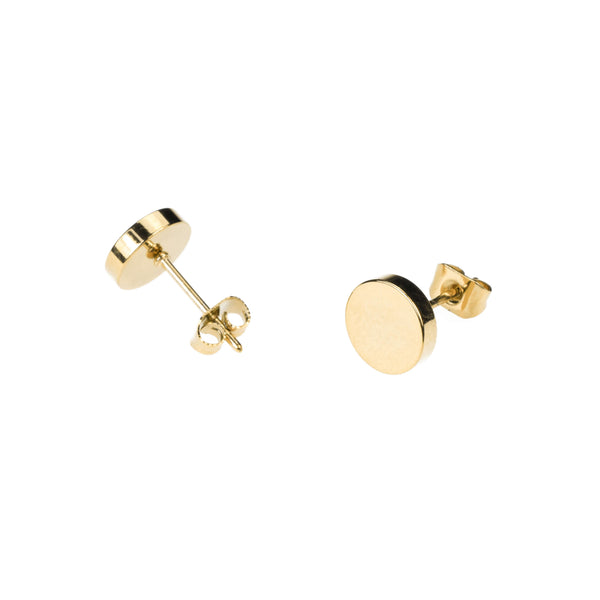 Simple Classic Flat Round Stud Solid Gold Earrings By Jewelry Lane