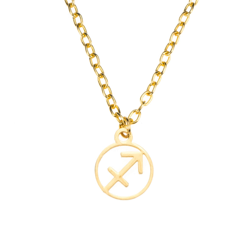 Charming Zodiac Sagittarius Minimalist Solid Gold Pendant By Jewelry Lane
