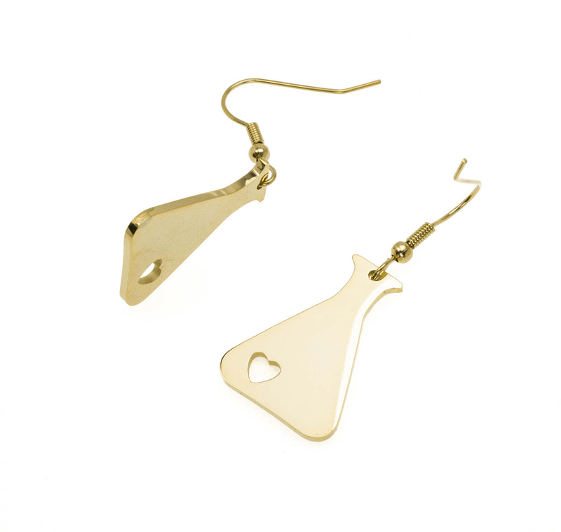 Beautiful Design Science Beaker Solid Gold Love Earrings By Jewelry Lane