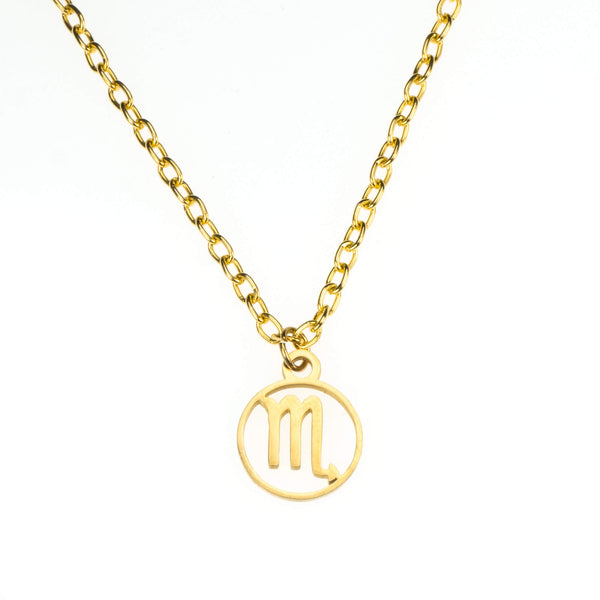 Charming Zodiac Scorpio Minimalist Solid Gold Pendant By Jewelry Lane