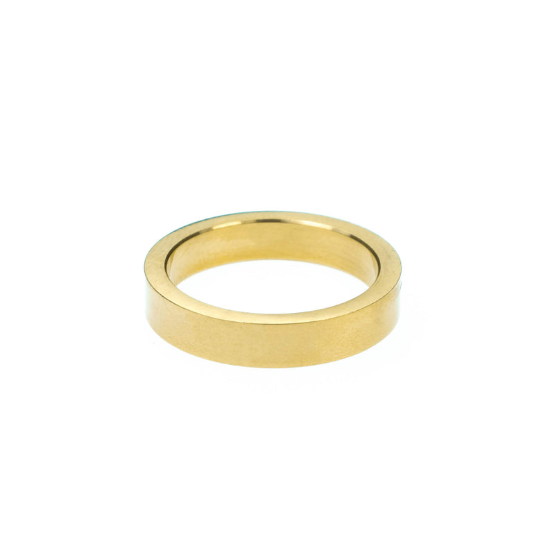 Elegant Simple Evergreen Flat Solid Gold Band Ring By Jewelry Lane