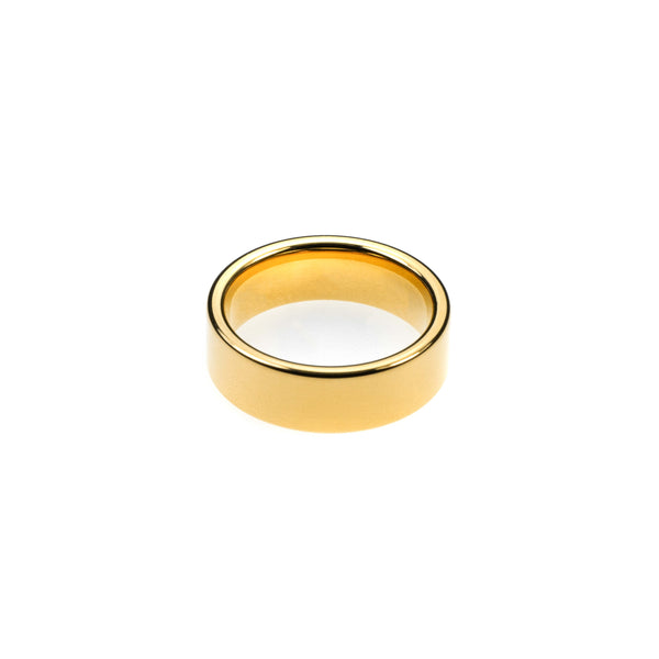 Flat Solid Gold Band By Jewelry Lane