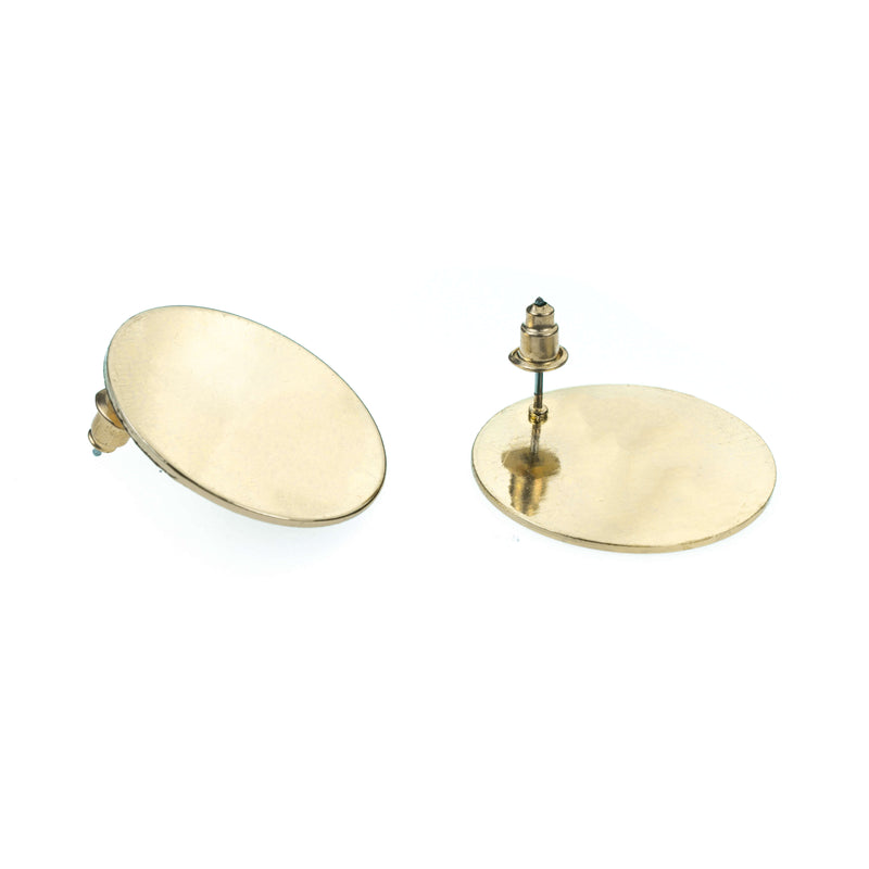 Beautiful Simple Classic Round Stud Solid Gold Earrings By Jewelry Lane