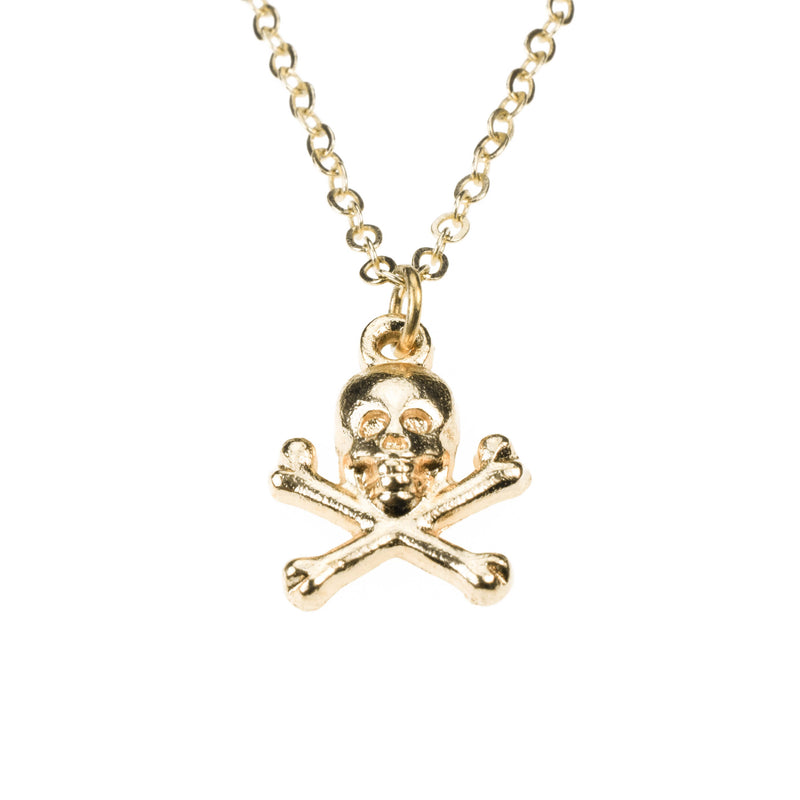Classic Skull Crossbone Danger Sign Solid Gold Pendant By Jewelry Lane