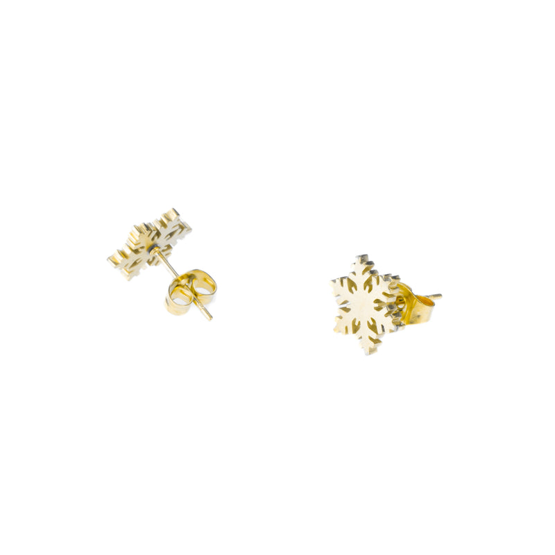 Elegant Unique Snowflakes Solid Gold Stud Earrings By Jewelry Lane