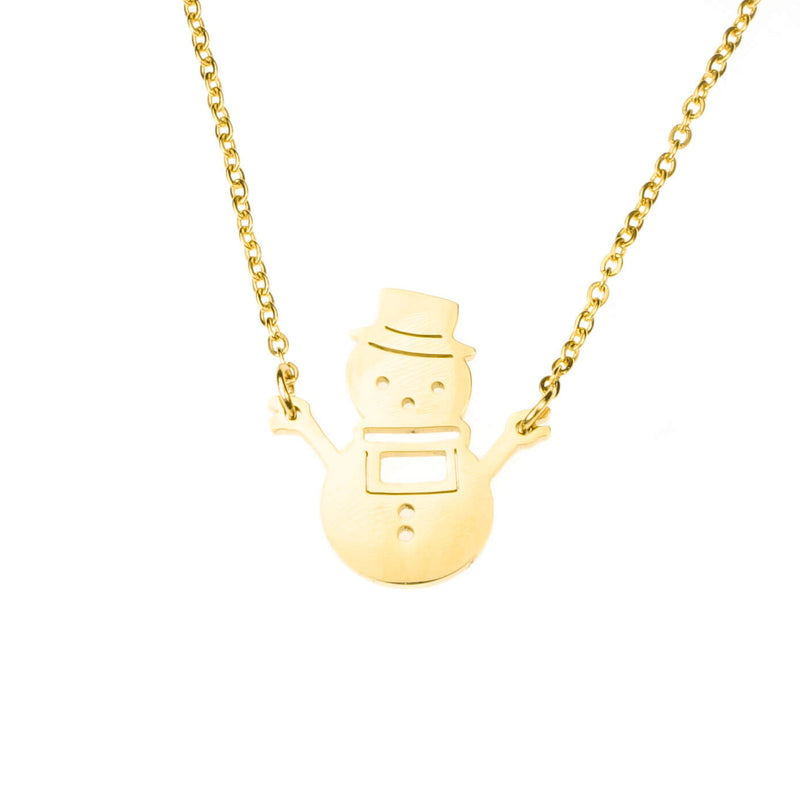 Beautiful Charming Snowman Solid Gold Necklace By Jewelry Lane