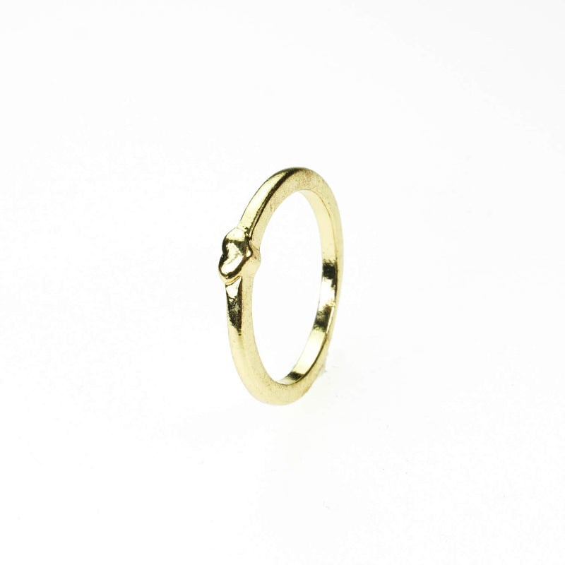 Simple Elegance Heart Stacker Solid Gold Ring By Jewelry Lane