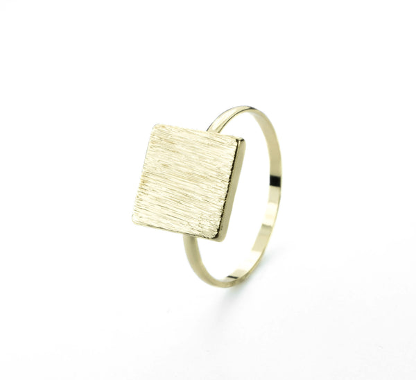 Elegant Plain Square Plate Stacker Solid Gold Ring By Jewelry Lane
