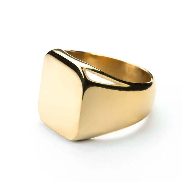 Square Statement Signet Solid Gold Ring By Jewelry Lane