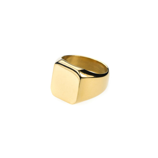 Simple Plain Square Statement Solid Gold Ring By Jewelry Lane