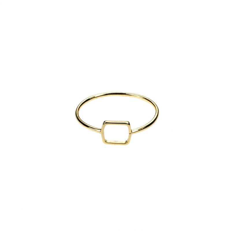 Simple Elegant Square Stacker Solid Gold Ring By Jewelry Lane