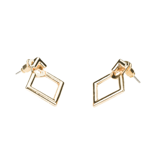 Simple Charming Square Stud Solid Gold Earrings By Jewelry Lane