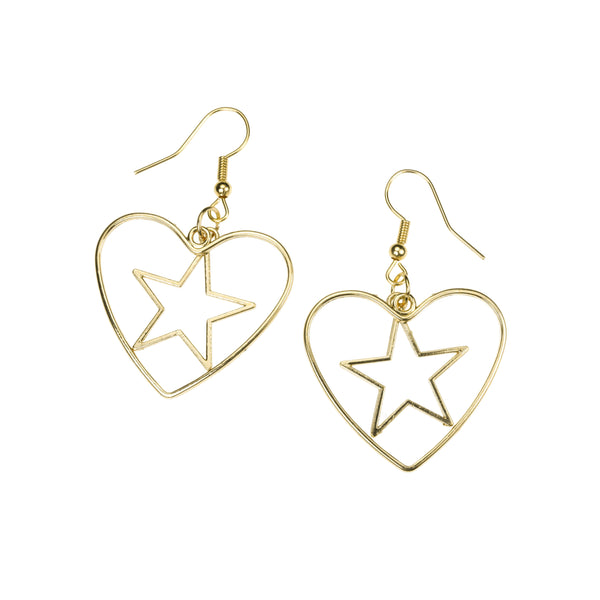 Beautiful Classic Star In Heart Drop Solid Gold Earrings By Jewelry Lane