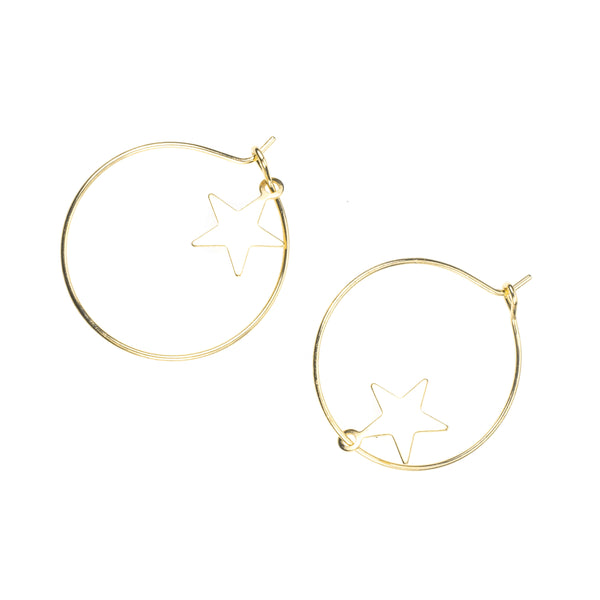 Beautiful Elegant Star Hoops Solid Gold Earrings By Jewelry Lane